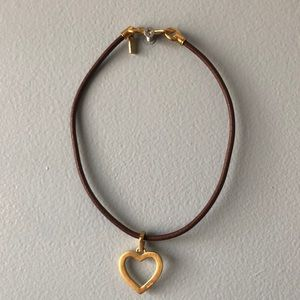 Coach Heart with Leather Coach Necklace